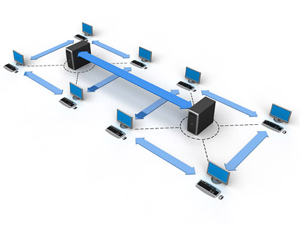 3D network connections picture material-3