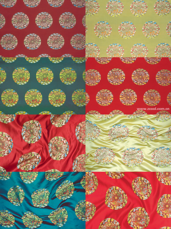 4-color   five dragons   Chinese fabric backgrounds HD Photo (8P)