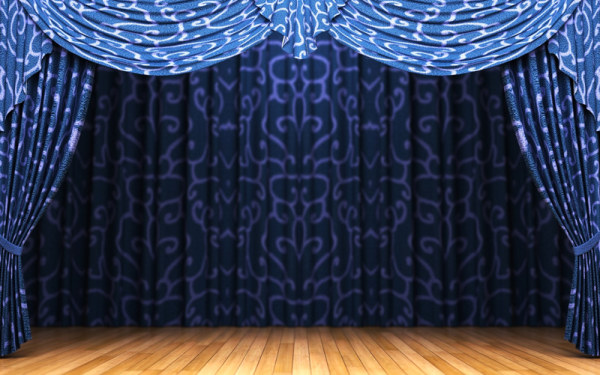 Blue curtain and stage HD picture material
