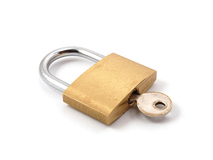 Brass padlock picture material