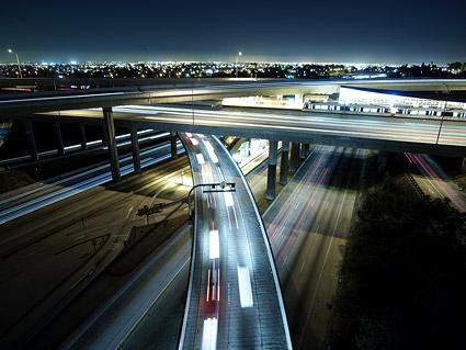 Bridge night view picture material