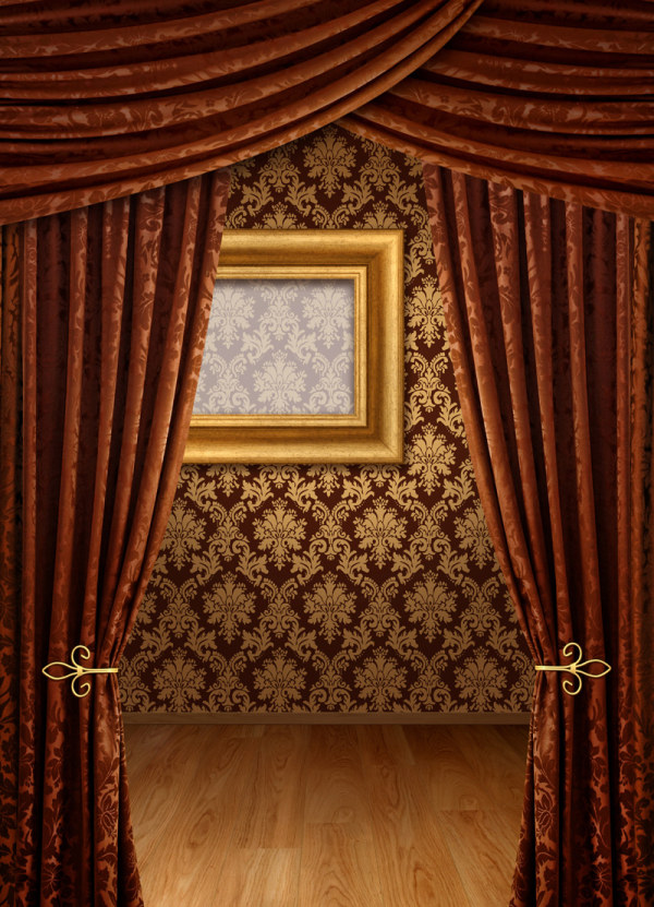 Brown curtains and wall background HD picture material