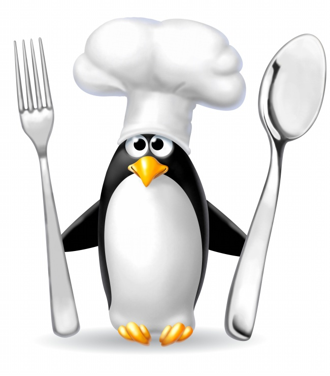 Cartoon Penguin took knife and fork pictures