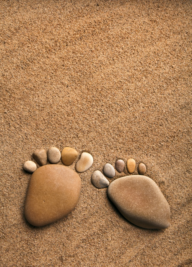 Footprints sand and creative pictures