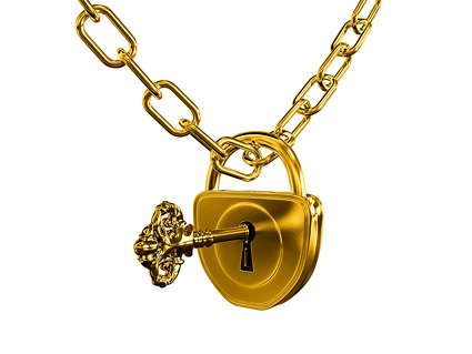 Gold lock and chain quality picture material