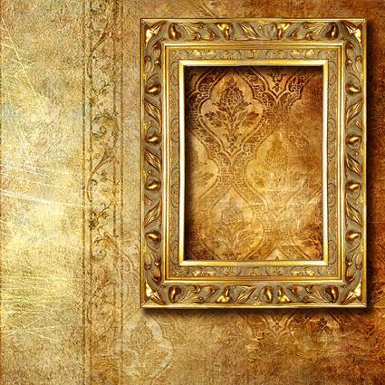 Gorgeous gold photo frames and ornate wallpaper background picture material