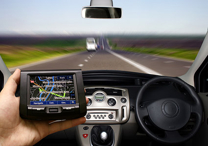 GPS navigation on the road picture material