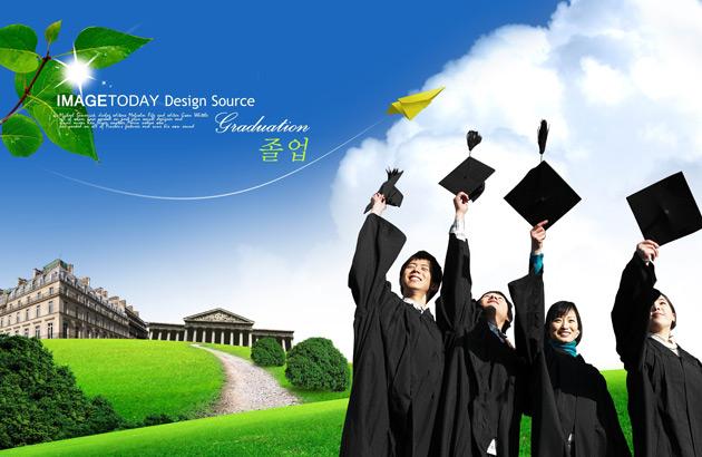 graduation figures landscape psd material