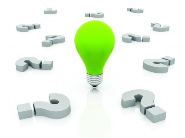 Green bulbs and 3D question mark image