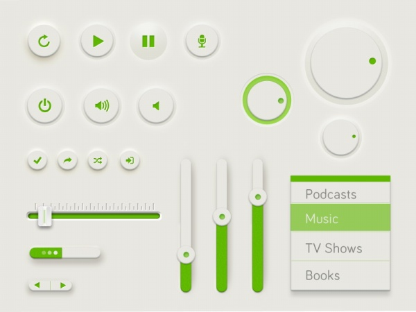green ui design psd template free download