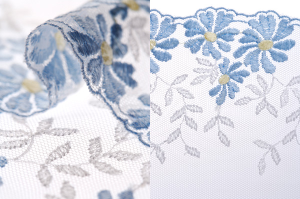 HD picture blue gauze curtains lace (2P)
