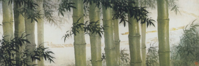 Ink bamboo picture material