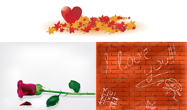Maple Leaf Chinese Restaurant heart roses wall vector material