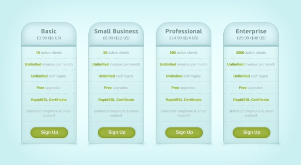 Page price list PSD design template | Free download