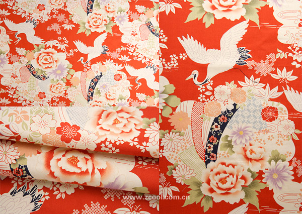 Peony Chinese fabric backgrounds for the crane HD Photo (3P)