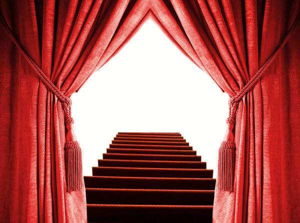Red curtains and stairs HD picture material