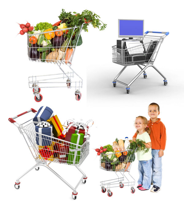 Supermarket shopping cart HD pictures