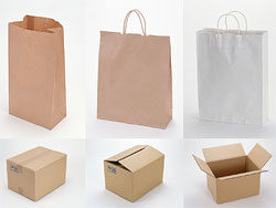 Blank recycled paper bags and cardboard pictures