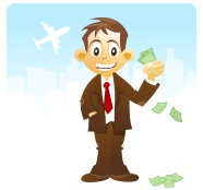 Cartoon business man holding money pictures