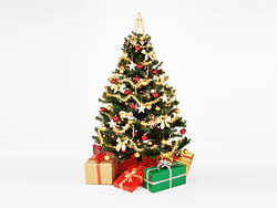 Hanging Christmas tree full of gifts 1