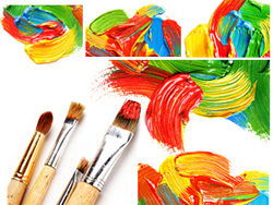 HD picture material multicolored paint and brushes (5P)