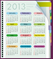 Notepad shading 2013 calendar pictures