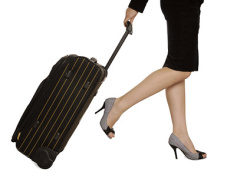 Pulling suitcases woman picture material