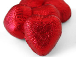 Red heart-shaped chocolate picture material