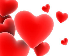 Red solid heart-shaped picture material