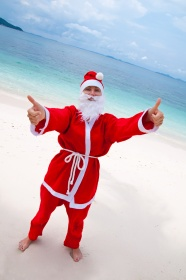 Seaside Santa Claus picture material