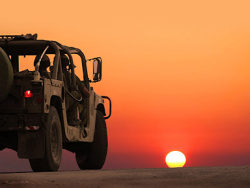 Sunset military vehicles picture material