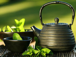 Teapot Cup mint leaves picture material