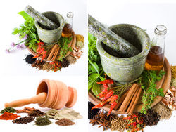 Various spices and garlic mortar-HD pictures 1