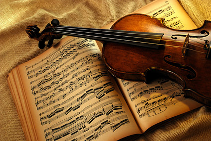 Violin music using picture material