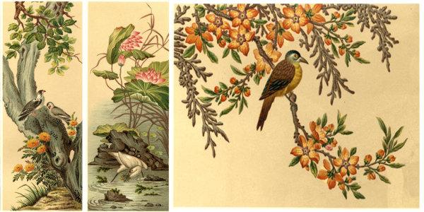World famous decorative painting: flower bird pond Heron bird