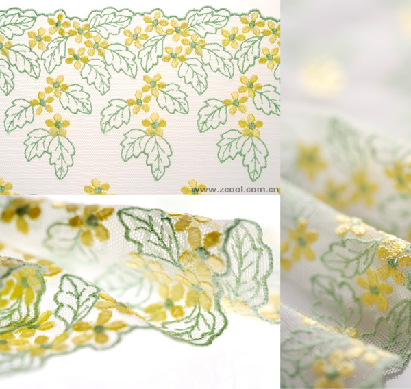 Yellow-green yarn curtains lace HD Photo (3P)