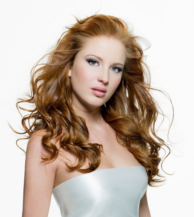 Blond curly hair beauty picture material