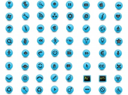 blue and grey rounded button icons icons pack