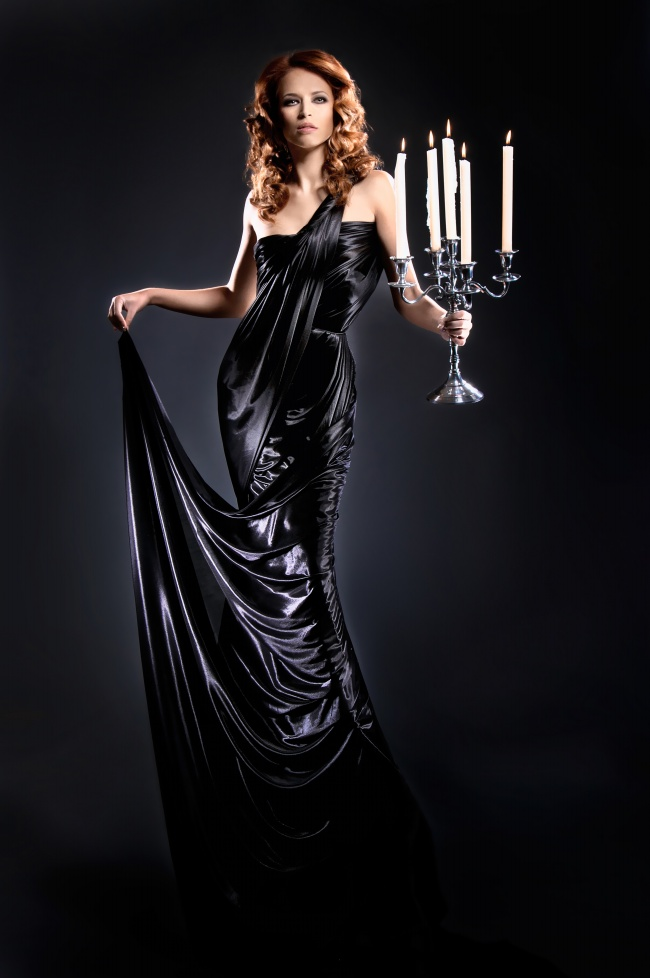 Holding candles black dress girls pictures