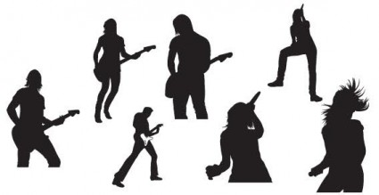 Live music silhouettes vector