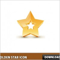 3D Golden Star Icon PSD