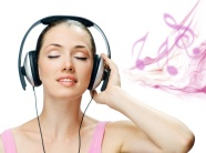Beautiful woman wearing headphones listening to music pictures