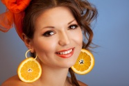Earrings with orange girls pictures
