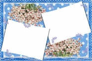 Flowers blue pattern photo frame picture
