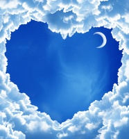 Heart-shaped clouds and moon pictures