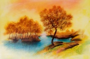 Landscape painting autumn pictures