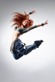 Red hair beauty jumping picture material