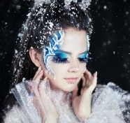 Snowflake blue eye makeup girls pictures