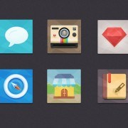 Set flat psd icons