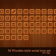 Wooden style social web icon set PSD